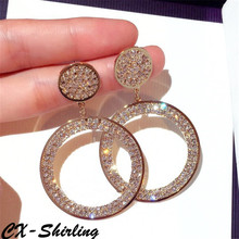 CX-Shirling High Quality Women Big Size Anti-Allergy Earring Female Party Full Crystal Circle Fine Earring cx shirling 4 colors crystal daisy female