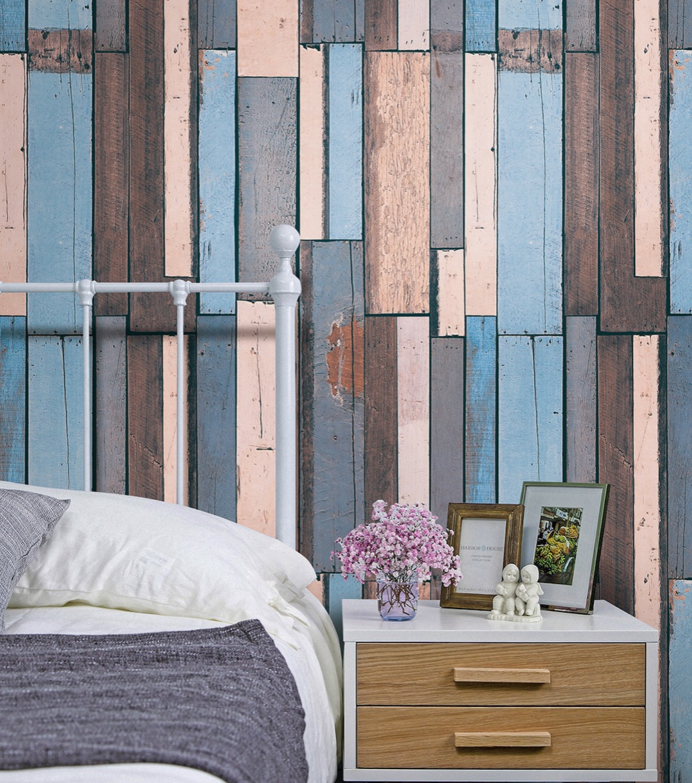 HaokHome Vintage Wood Wallpaper Rolls Blue/Sand/Brown Wooden Plank Murals Home Kitchen Bathroom Photo Wall Paper 20.8 x 393.7