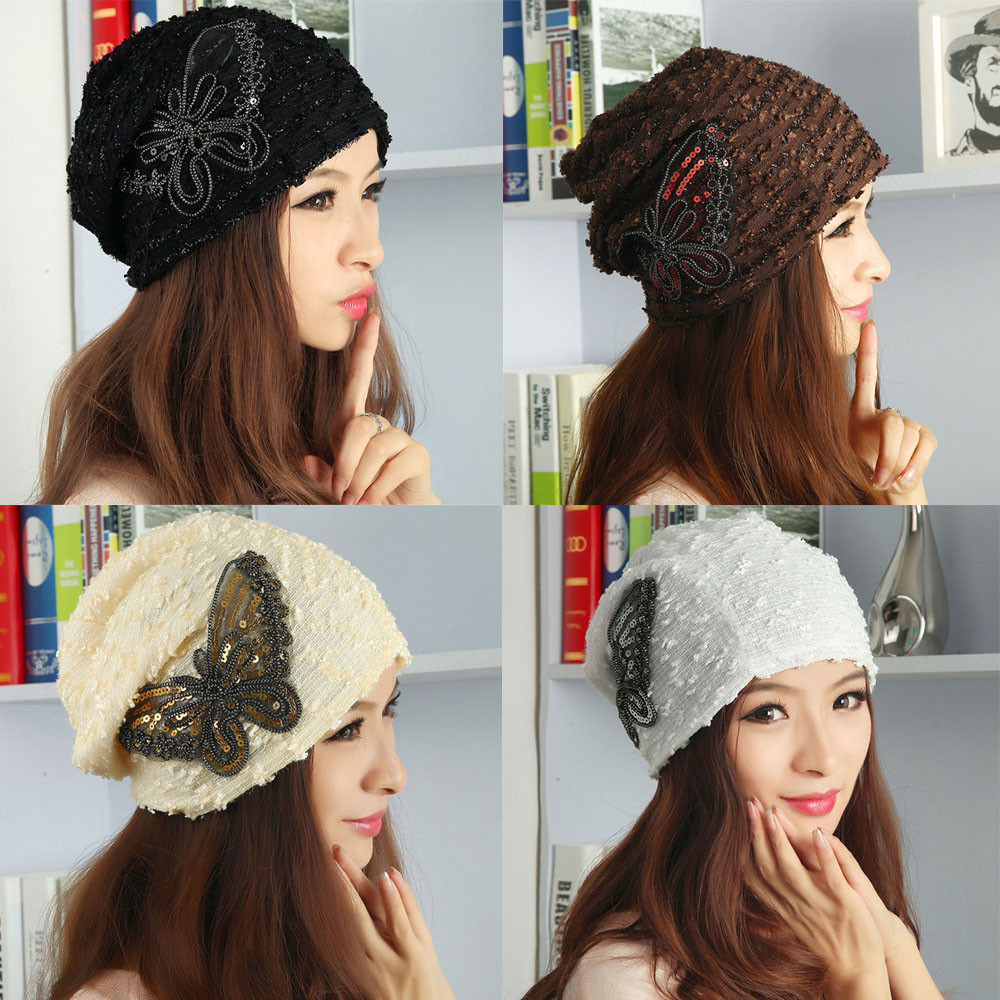 2017 KLV Women's Winter hat Lace Butterfly Beanie Lady Skullies Turban Cap woman Chunky Baggy cap Skull#20 knitted winter autumn female hat plaid lace beanie cap woman chunky baggy cap skull gorros de lana mujer femme beanies cap