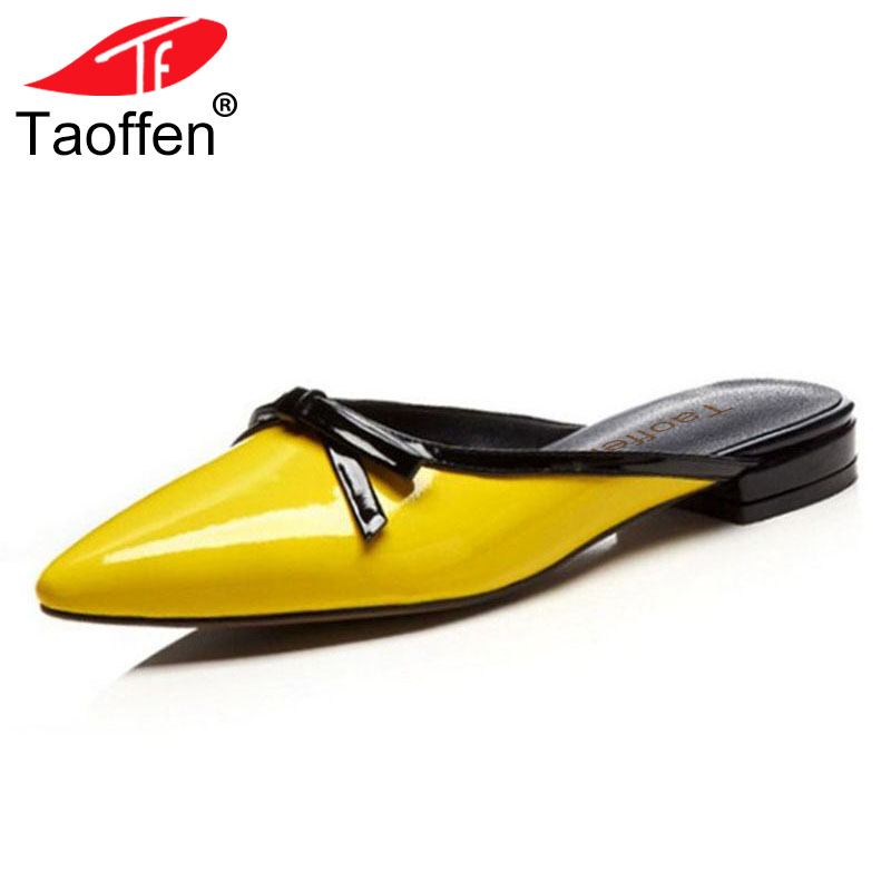 TAOFFEN Simple Women Real Genuine Leather Flats Sandals Women Bowknot Pointed Toe Falts Slipper Summer Beach Shoe Size 33-40