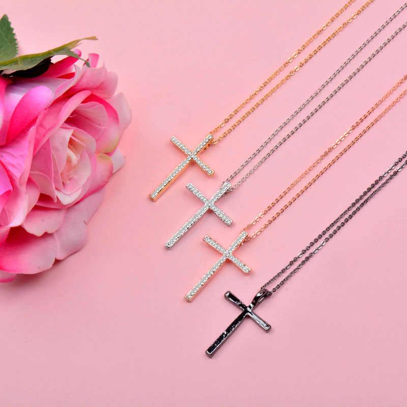 SINLEERY серебряный цвет кулон крест со стразами ожерелье цепь для женщин и девочек Xl402 Бесплатная доставка SSH