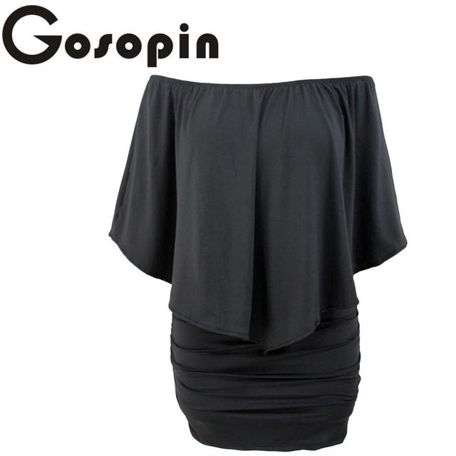 Gosopin Off Shoulder Dresses Plus Size Multiple Dressing Layered Sexy Black Mini Dress Vestido Casual Big Women Clothes  LC22820