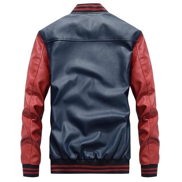 Men Baseball Leather Coats Slim Fit  Luxury Pilot Jackets 2