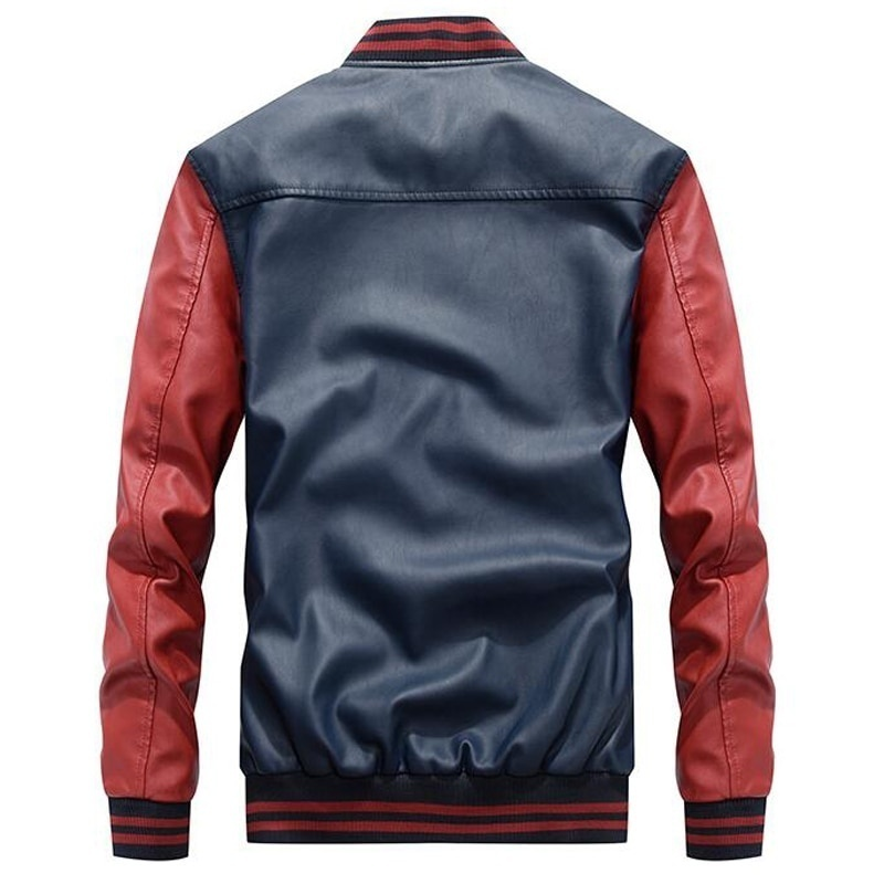 Men Baseball Jacket Embroidered Leather Pu Coats Slim Fit College Fleece Luxury Pilot Jackets Men's Stand Collar Top Jacket Coat