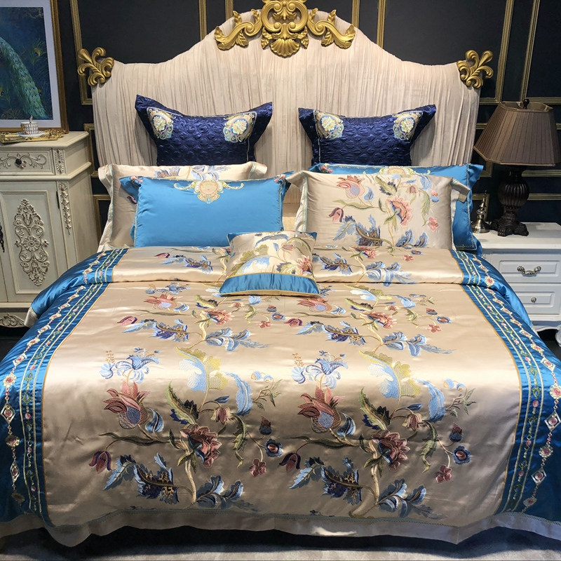 Luxury European Style Flowers Embroidery Satin Silk Cotton Palace Bedding Set Duvet Cover Bed Sheet/Linen Bedspread Pillowcases