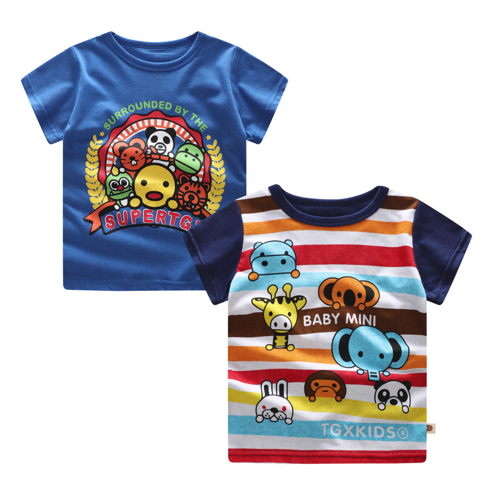 2018 Summer 2 pieces baby T shirt boys t-shirt Baby Clothing Little boy tees Designer Cotton Cartoon Zoo 3month-3year