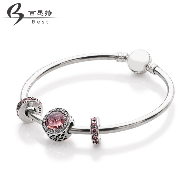 BEST 100% 925 Sterling Silver Original Radiant Hearts Charm Blush Pink Crystal & Clear CZ Rosy Eternity Space Bracelet SetBEST 100% 925 Sterling Silver Original Radiant Hearts Charm Blush Pink Crystal & Clear CZ Rosy Eternity Space Bracelet Set