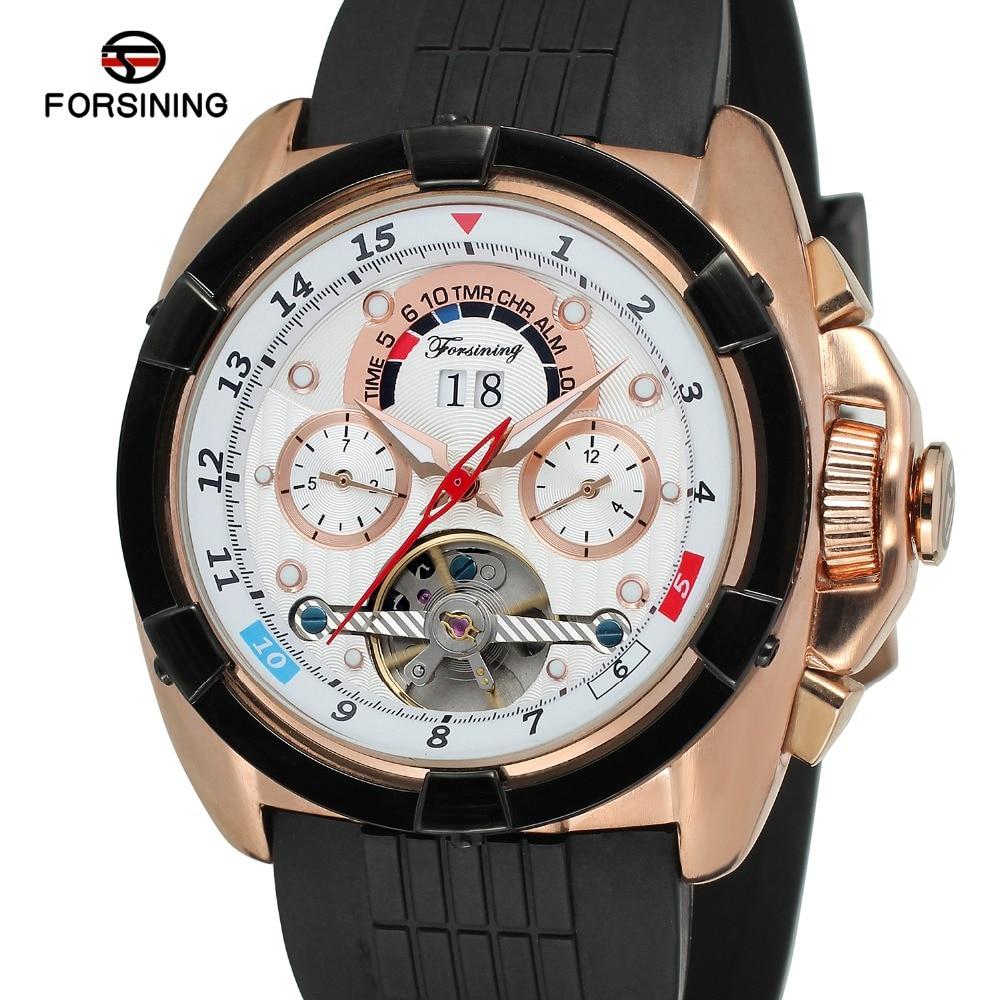 Forsining Tourbillon Mens Watch Brand Luxury Sport Automatic Watch Men's Automatic Self-winding Calendar Brand Leather Strap