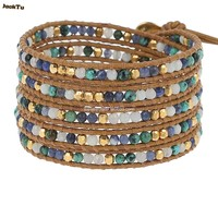 gold copper beads mix sodalite wrap bracelet on yellow leather