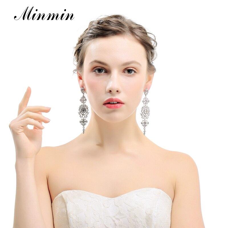 Minmin kolor srebrny Kryształowy żyrandol Ślubne długie kolczyki - Modna biżuteria - Zdjęcie 3