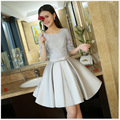 Latest Silver Gray Short Cocktail Dresses Half Sleeves Lace Top Ruched Vestidos Coctel Cheap In Stock Vestido Coctel Corto