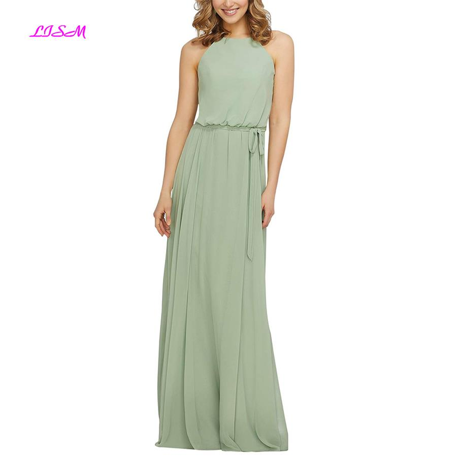 Simple Green Chiffon   Bridesmaid     Dress   A Line Halter Long Party Gowns Women Custom Made Sleeveless Formal   Dresses   robe de soiree