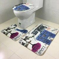 New Qualified Fashional 3Pcs Set Bathroom Non Slip Blue Ocean Style Pedestal Rug Lid Toilet Cover
