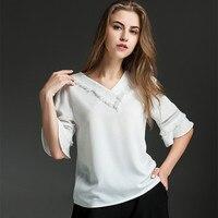 Summer New White Half Sleeve V Collar Chiffon Shirt Plus Size L XL 2XL 3XL 4XL