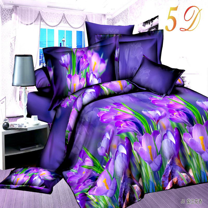unikea new style purple flower 3d bedding set of duvet cover bed sheet pillowcase bed clothes