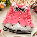 2017 spring and summer Korean version of the new princess dress girls long-sleeved floral lace kids clothing free shipping