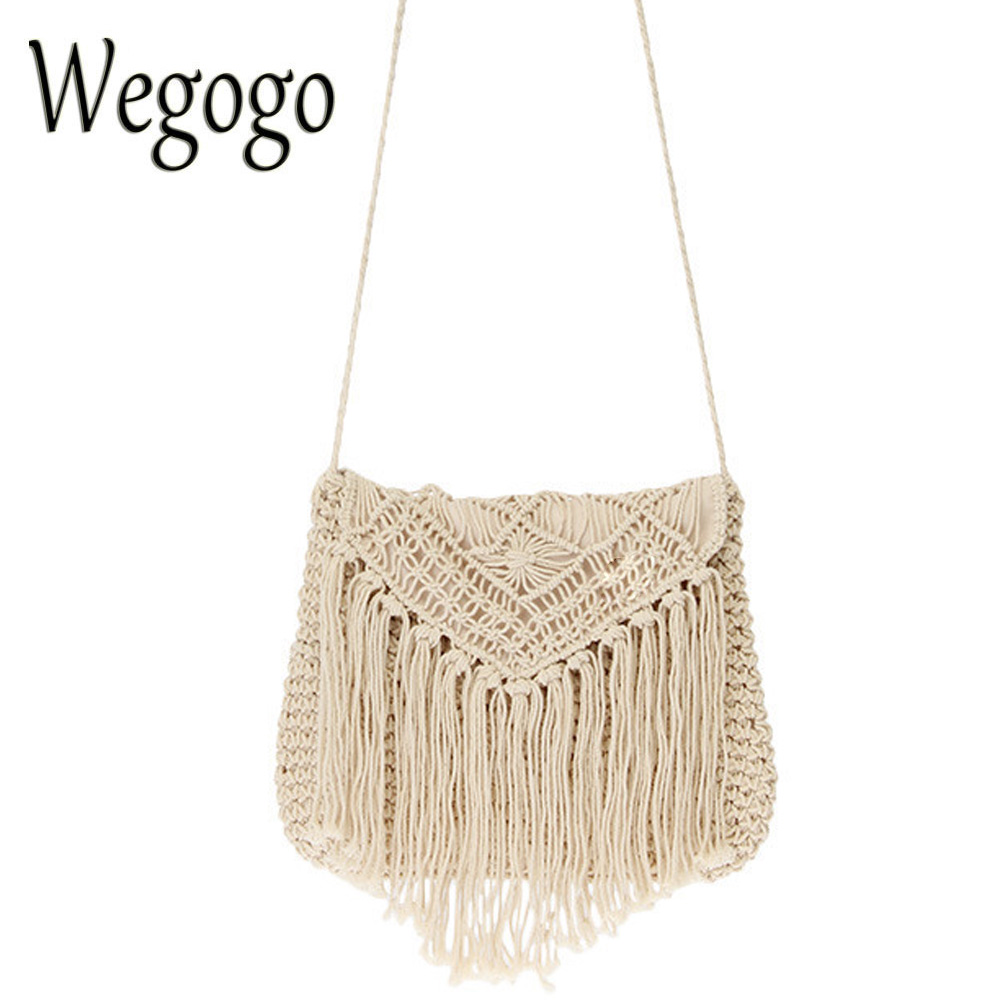 Vintage Women Bag Handmade Crochet Braid Fringed Bags Tassels Cross Knitted Handbag Beach Bohemian Woman Shoulder Messenger Bag Сумка