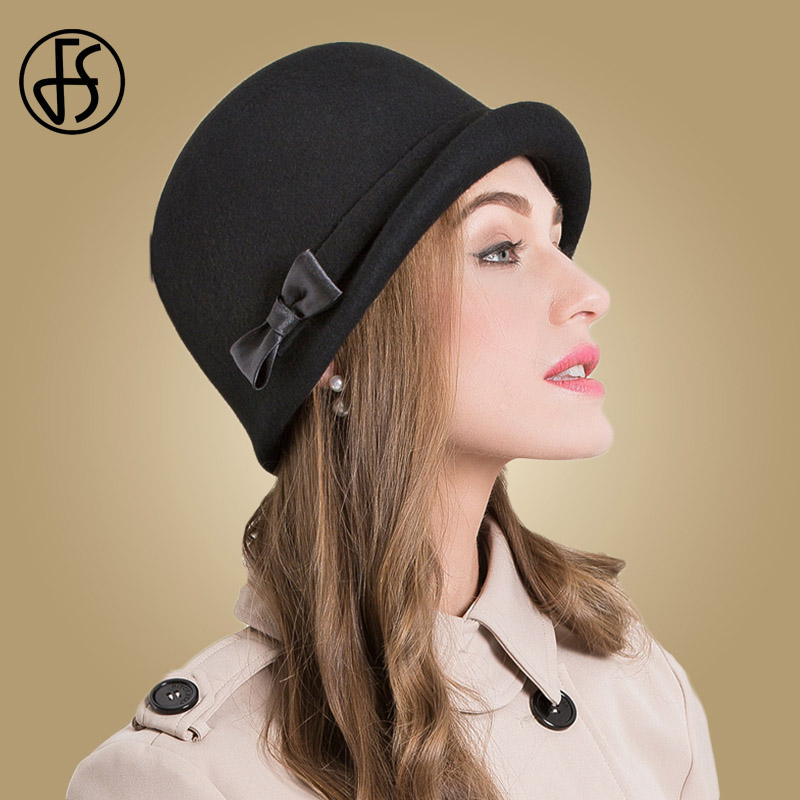 FS 100% Wool Felt Black Fedoras Hat Women Church Cap Pink Elegant Bow Curl Birm Ladies Cloche Hats Winter Floppy Bowler Caps