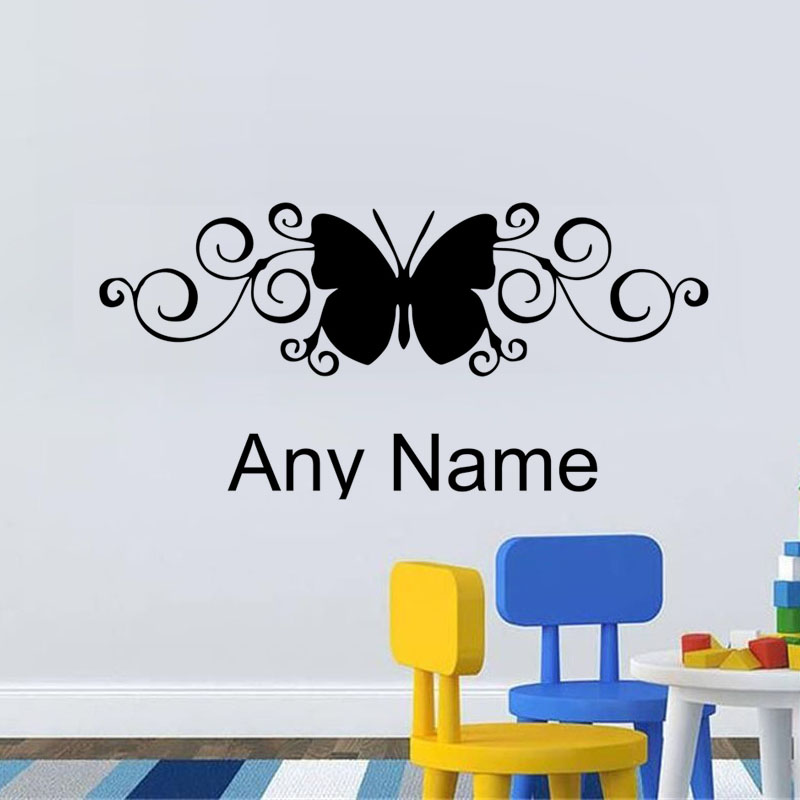 Unique Design Butterfly Styling Decal Any Name Vinyl Wall Sticker - Vinyl wall decal adhesive
