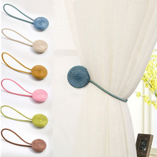 hot deal buy 2pcs magnet curtains tie buckle magnetic tieback for window curtains holder resin curtain straps home decor accessories 6 colors