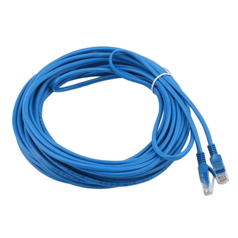Durable 12M 50FT RJ45 CAT5 CAT5E 480 Kpbs Ethernet Network Lan Router Patch Cable Cord Data Transfer Cable Blue Wholesale