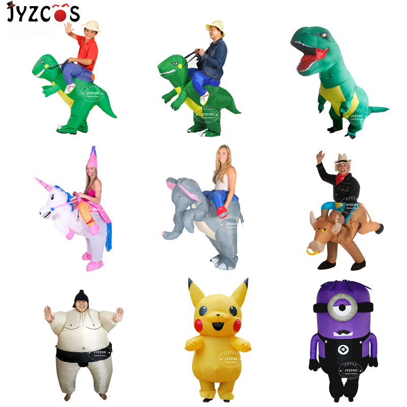 JYZCOS Purim Halloween Christmas Xmas adult Inflatable dinosaur costume Dragon Blow Up TRex Fancy Dress for Kids Party Ride on