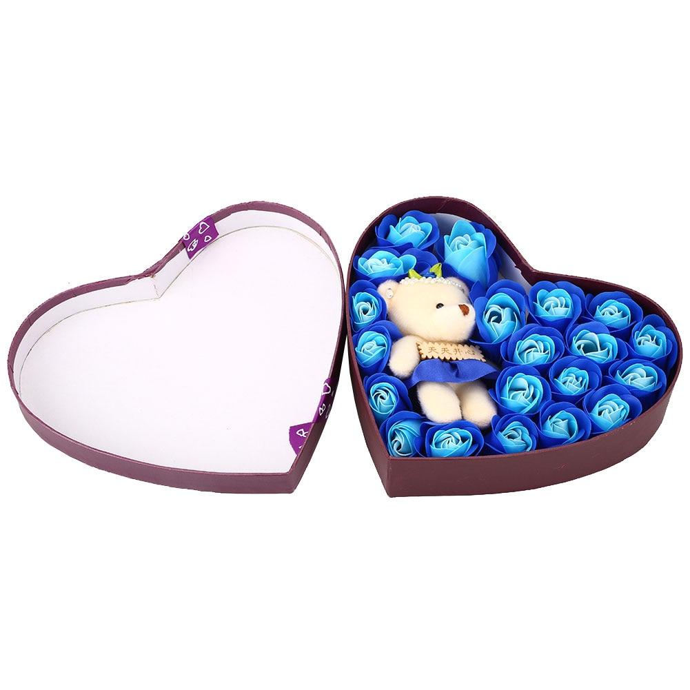 Романтический мыло в Форме Розы элегантный с маленьким милый игрушечный медведь в форме сердца коробка отлично подходит для День святого Валентина подарки свадебный подарок - Цвет: Blue