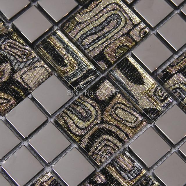 Grigio vetro in acciaio inox misto tessere di mosaico in metallo cucina torna splash mosaico - Mosaico vetro bagno ...