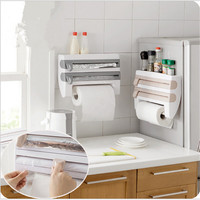 New Arrival Kitchen Cling Film Storage Rack With Slicer Cutter Aluminum Foil Toilet Paper Holder Wall