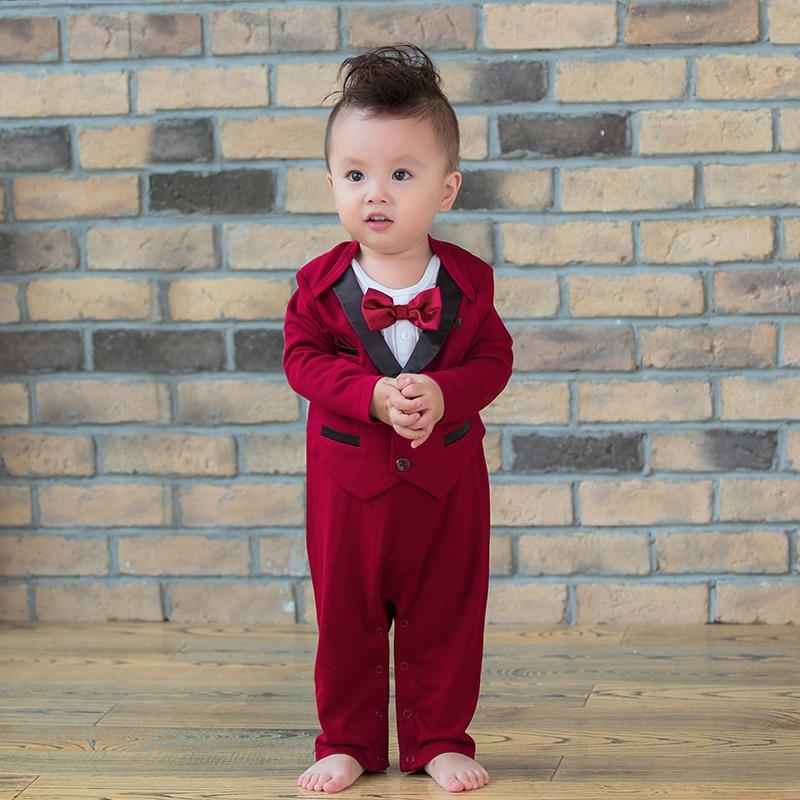 2019 Formal Newborn Baby Boy Romper Gentleman Wedding Long Sleeve Tuxedo Jumpsuit Clothes Clothing For Boys 0-24M Birthday Party