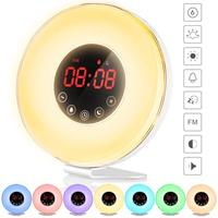 Wake Up Light Electronic Alarm Clock with 7 colors Night Light 7 sounds Sunrise/Sunset Simulation Alarm Radio Clock