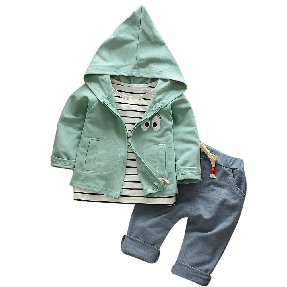 MUQGEW children clothing girls clothes roupas infantis menina Outfits Stripe T-shirt+Hooded Coat+Pants tracksuit for boys hooded 2017 kids clothes costumes for girls spring full sleeve clothing sets roupas infantis menina children t shirt denim pants set page 7