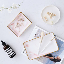 Nordic Style Marble Gold Storage Tray Ceramic Jewelry Desktop Included Photography Props Bathroom Dresser Plate Debris