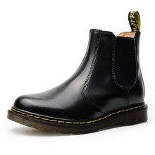 2018 Novos Homens Martin Botas Ankle Boots Homens Casais Sapatos casuais Slip-on Botas Chelsea Inverno Couro Macio grande tamanho homens sapato 38-47