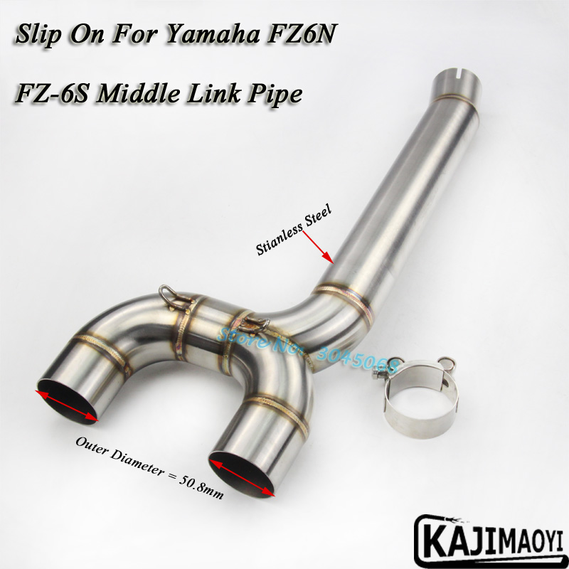 For FZ6 FZ6N 04-09 Moto Full Exhaust System Middle Pipe Link Connect Accessories