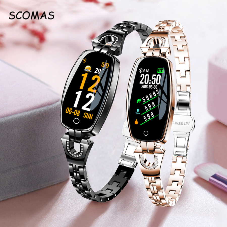 SCOMAS Fashion Women Smart Watch 0 96inch OLED Heart Rate Blood Pressure Monitor Pedometer Fitness Tracker Waterproof Smartwatch