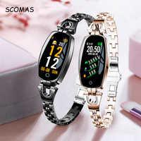 """SCOMAS Mode Frauen Smart Uhr 0,96 """"OLED Herz Rate Blutdruck Monitor Schrittzähler Fitness Tracker Wasserdichte Smartwatch"""