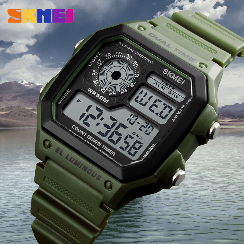 SKMEI Fashion Sports Watches Men Waterproof Countdown Stainless Steel Watch Alarm Male Digital Wristwatches Relogio Masculino