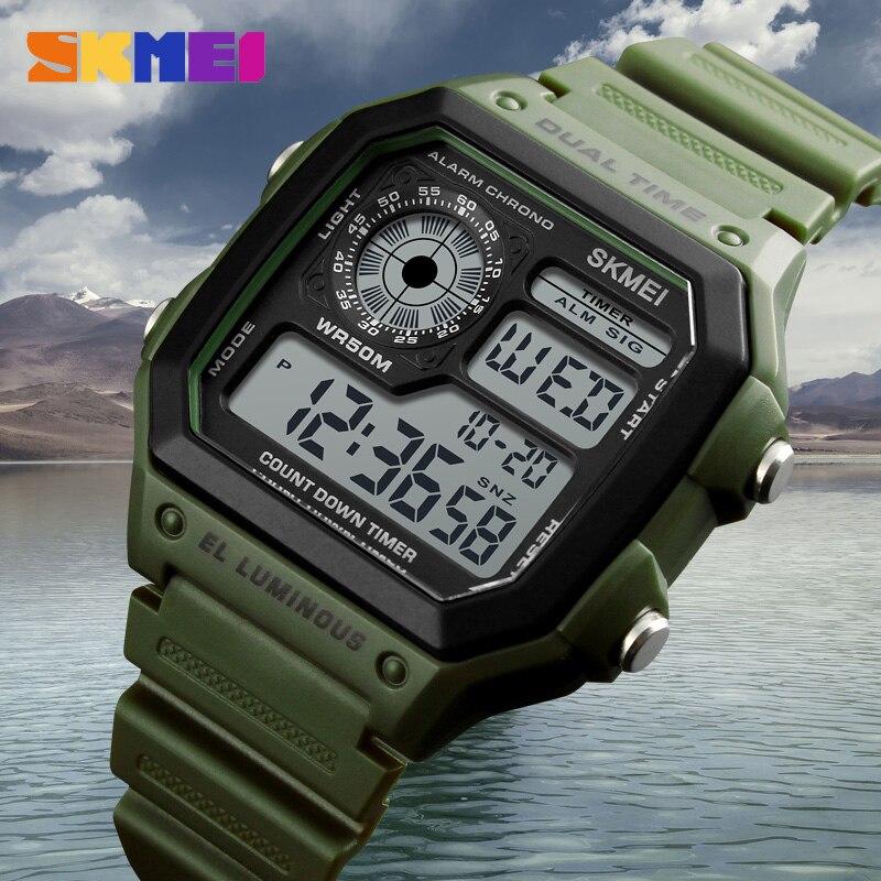 SKMEI Mode Sport Uhren Männer Wasserdicht Countdown-Edelstahl Uhr Alarm Männlichen Digitale Armbanduhren Relogio Masculino