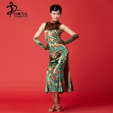 Oriental Fair Ladies' Latin dance skirt Fashionable and Traditional Cheongsam Floral dance dress