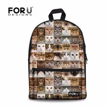 FORUDESIGNS Children School Bags Cute Animal Cat Dog Puzzle Printing School  Backpack for Teenage Boys Girls Canvas Book Bags 4b0bbef0770fc