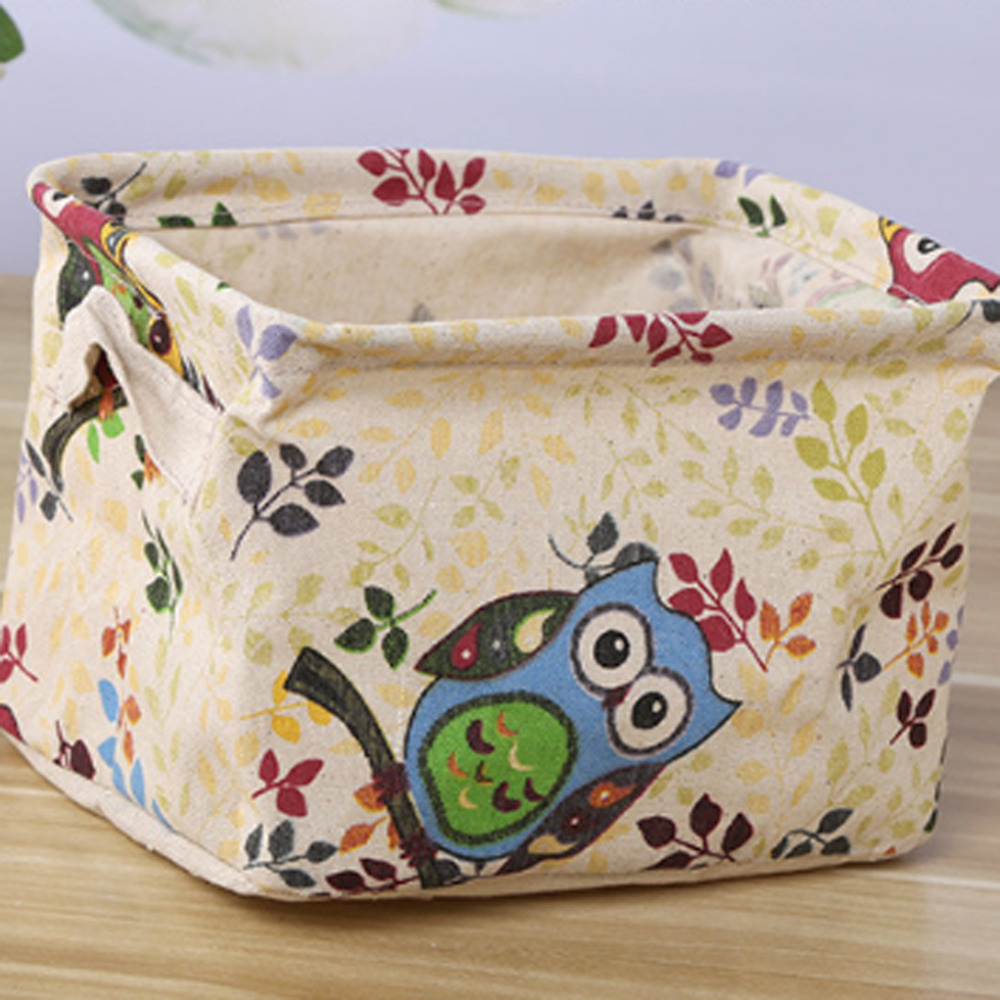 Pattern New Linen Desk Storage Box Holder Jewelry Stationery Cosmetic Organizer Case