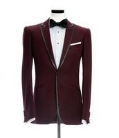 2018 hot Custom Made Groom tuxedos Velvet Burgundy /wedding Suit for men /Groom wear suits 3 peices set (jacket+Pant+bowtie)