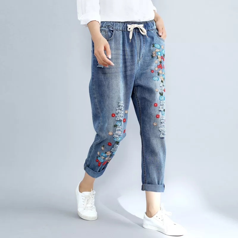 Plus Size 4XL Floral Embroidery Boyfriend Ripped Jeans For Women Harem Pants Lace Up Drawstring Denim Jeans Vaqueros Mujer Z127
