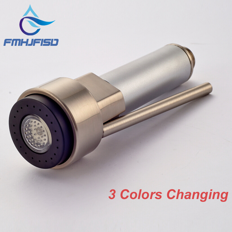 Free Shipping 3 Color Changing Nickel Brushed Hand Shower Kitchen Hand Sprayer