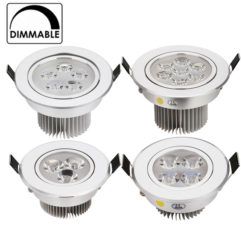 2pcs / lot bästa pris 3W 9W 12W 15W 21W inbyggd LED-downlight dimbar AC120V 240V inomhusbelysning Kall / Pure / Warm white