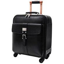 Кожа натуральная кожа тележки для багажа коммерческих 16 20 дорожная сумка мужской чемодан, Черный натуральной кожи багажа