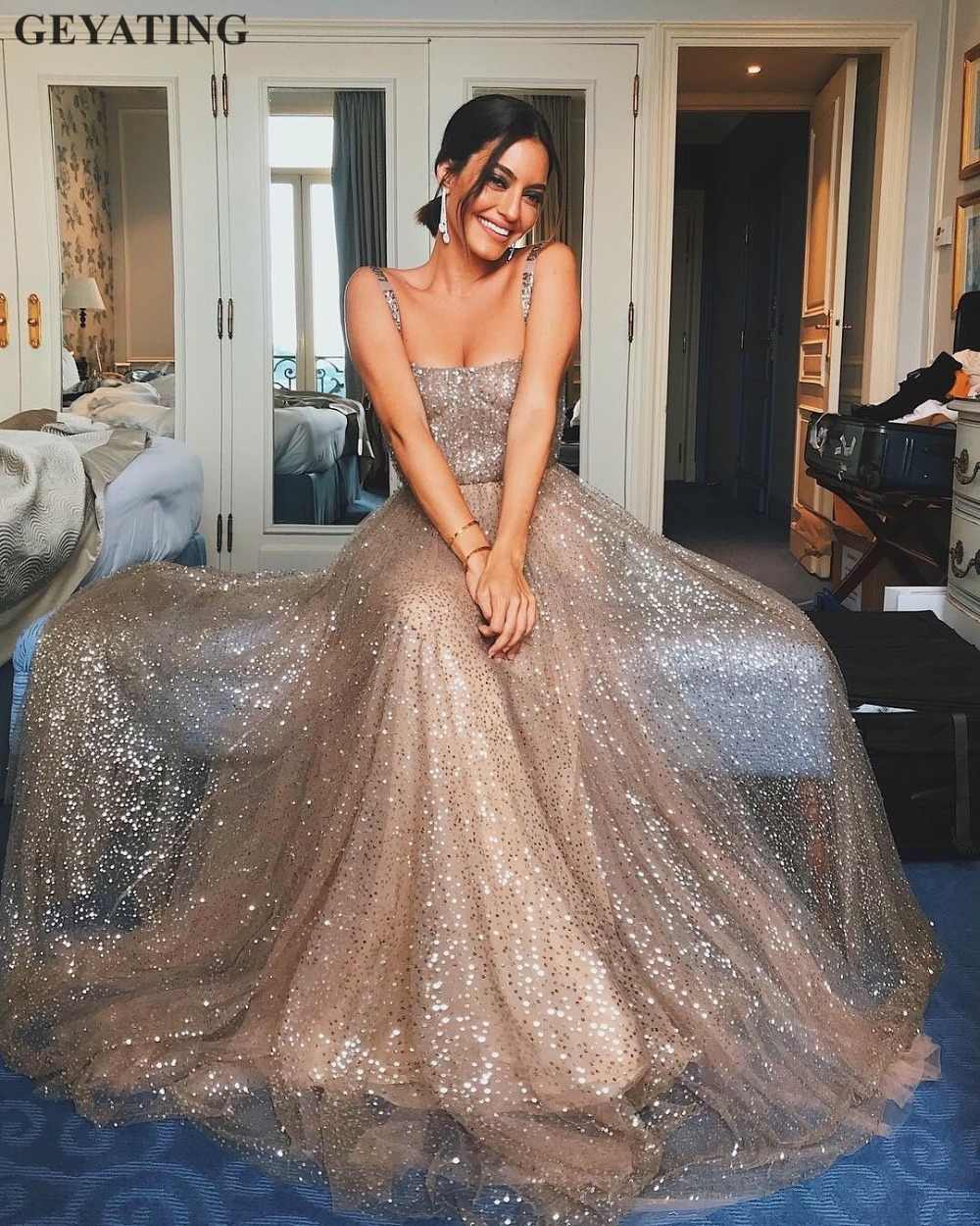 9d4916c0ca6 Glitter Sequin Rose Gold Prom Dresses 2019 Sexy Spaghetti Straps A-line  Champagne Sequined Evening