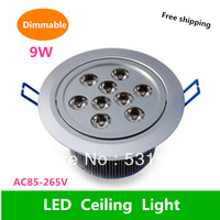 Wholesale Dimmable 10PCS Free Shipping 9W Led Ceiling DownLight AC85 265V Cold White Warm White