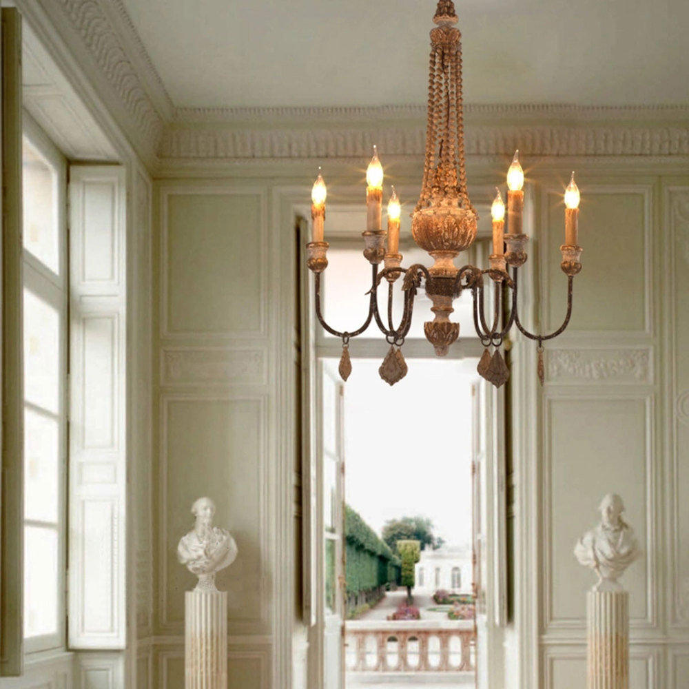 Vintage Chandelier Loft Nordic Wood European Style Lighting Six Heads Bedroom Dining Room Decor In Chandeliers From Lights